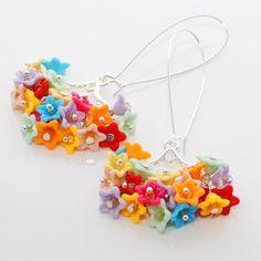 Colorful Flower Chandelier Earrings Petals of by LavenderRabbit, $15.00