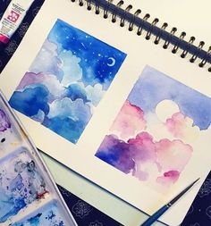 Watercolor doodles and other fun things! Painting Inspiration, Art Inspo, Art Sketches, Art Drawings, Guache, Pretty Art, Aesthetic Art, Watercolor Paintings, Watercolor Clouds