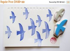 WINTER SALE 10%OFF bird rubber stamps. flying bird hand carved rubber stamps. love birds stamp. birthday wedding stamp. gift wrapping craft