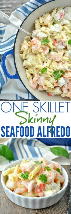 Just 5 minutes of prep and One Skillet makes this Skinny Seafood Alfredo a fast, healthy, and protein-packed dinner! LKDelights AD @LouisKempCrab