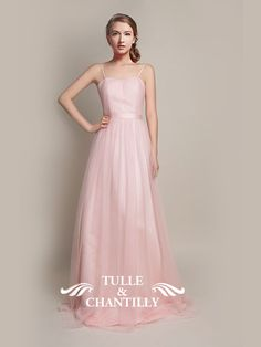 pink tulle bridesmaid dress with spaghetti straps
