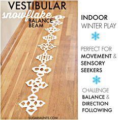 Sugar Aunts: Snowflake Balance Winter Gross Motor Indoor Play Therapy Idea