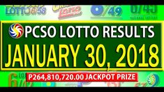 PCSO Lotto Results -January 30, 2018 | 6/58, 6/49, 6/42, 6D, SWERTRES & ... Lotto Results, January 2018, December 26, July 24, Youtube, Youtubers, Youtube Movies