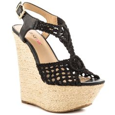 JustFab - Eleanora  Price: $55  Where woven meets the wedge the possibilities are endless. Extreme sculpted 2 inch platform with 6 inch wedge sandal woven upper t-strap design and jute wrap.