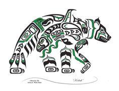 "Haida Art Style Bear ""Kodiak"" - Pacific Northwest Coast Style Bear Art Print (Choose your colo Haida Tattoo, Simbolos Tattoo, Native American Symbols, Native American Design, American Indian Art, Native American Drawing, Native Symbols, Native American Artists, Inuit Kunst"