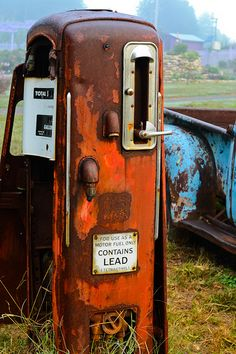 Old gas pump and truck at the UT Botanical Gardens