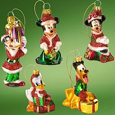 Glass Blown Disney Santa Mickey Mouse and Friends Holiday Ornaments -- 5-Pc. Set