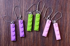 Lavender LEGO® Earrings - LEGO® Gifts for Adults - Dangly Earrings - Cool Gift For Teen - Girl Gift Ideas - Ladies Gift Ideas - LEGO® Gift ~ Exclusively at http://BrickAndButton.Etsy.com