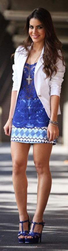 Printed skirt in blue and white high waist  with  regatta blue lace top with…