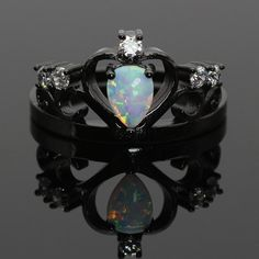 Vintage Diamond Rings, Vintage Engagement Rings, Vintage Rings, Fire Opal Engagement Ring, Gothic Engagement Ring, Black Gold Jewelry, Black Rings, Black Opal Ring, Blue Opal