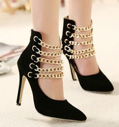 CHIC LADY METAL CHAIN DECORATE HIGH HEEL TRENDY HER FASHION $30 #Fashion #womenshoes #shoes