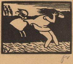 Felix Vallotton  Bathers Caught in a Storm (Les baigneuses surprises par l'orage), 1893 woodcut in black on brown wove paper 4 7/16 × 5 1/2 in 11.3 × 14 cm