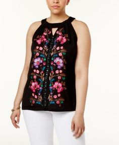 142afe158e0c8 INC International Concepts Plus Size Embroidered Halter Top