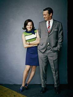 key points: very classic (well it's from mad men after all) fit and style of suit, versatile shade of gray.
