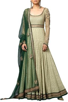 Suits, Clothing, Carma, Mint Embroidered Anarkali Set , , ,