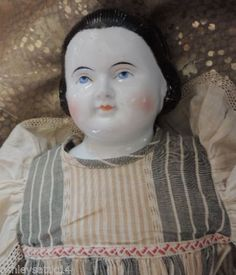 Antique-China-Doll-Snood-German-24-IN-Alice-Antique-China-Antique-Dress-1850s