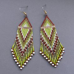 Ethnic style seed bead earrings   dangle long by Anabel27shop, #beadwork #jewelry #beading