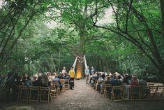 Outdoor Woodland Ceremony | Wise Wedding Venue in Kent |  Festival Music Theme | Images by Maureen du Preez | http://www.rockmywedding.co.uk/emma-stuart/