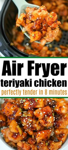 Air fryer teriyaki chicken turns out delicious! With a thick flavorful sauce, you can now make tender marinated chicken in no time at all. #airfryerchicken #airfryerteriyakichicken #teriyakichicken #ninjafoodichicken