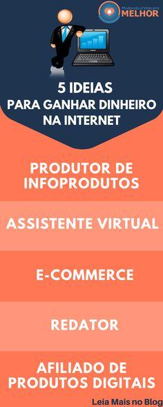 5 Ideias para ganhar na Internet, se você também tem o sonho de trabalhar em casa na internet leia o artigo completo no Blog.