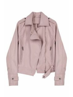 3012d4b09e1b PU Lapel Collar Long Sleeve Plain Offset Zip Closure Leather Jacket Pu  Jacket