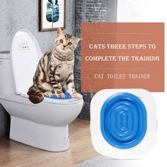 Pet Cat Kitty Toilet Trainer Convenient Disappearing Litter Box Trainer White US