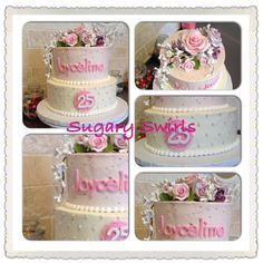 - birthday floral themed cake for a special lady! Custom Birthday Cakes, 25th Birthday, Themed Cakes, Swirls, Lady, Floral, Theme Cakes, 25 Years Old, Flowers