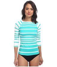 NWT Ralph Lauren Kaylee Stripe Rashguard Boatneck Swimsuit Sun OCEAN TURQUOISE M
