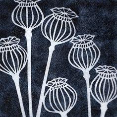 yellow house art licensing - artists - H I J K - black poppy seedheads Linoprint, Sgraffito, Art Graphique, Linocut Prints, Doodle Art, Textile Art, Flower Art, Printmaking, Poppies