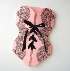 Lingerie Corset Bridal Shower Invitation - Bachelorette Party Invitation - Lace…