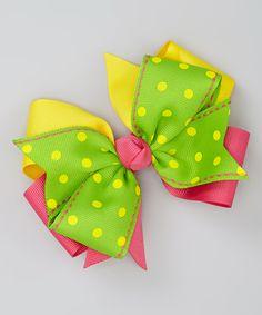 Take a look at this Green & Hot Pink Polka Dot Bow Clip by Fairy Bow Mother on today! Ribbon Hair Clips, Hair Ribbons, Ribbon Bows, Handmade Hair Bows, Diy Hair Bows, Diy Bow, Barrettes, Hairbows, Pinwheel Bow