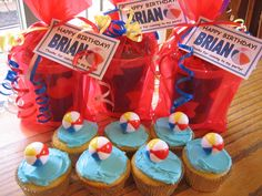 Pool Party Favors & Beach Ball Cupcakes - Kids Birthday Parties