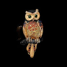 Brooch Owl - buy in Mousson Atelier - Black gold, yellow gold, multicolored sapphires, green tourmaline, diamonds