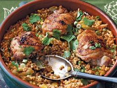 Anne Burrell's Garlic Chicken with Israeli Couscous
