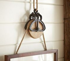 Rustic Pulley Frame Hanger with Rope
