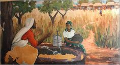Samaritan woman at the well by Zambian muralist and Christian painter Emmanuel Nsama African Jesus, African Love, Images Bible, Biblical Art, Religious Images, Bible Art, Scripture Art, Jesus On The Cross, Daily Prayer