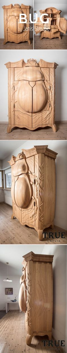 Funny pictures about Beetle Cabinet That Turns Into An Owl When You Open It. Oh, and cool pics about Beetle Cabinet That Turns Into An Owl When You Open It. Also, Beetle Cabinet That Turns Into An Owl When You Open It photos. Funky Furniture, Unique Furniture, Painted Furniture, Furniture Design, Tree Carving, Beetle, Wood Art, Wood Crafts, Wood Projects