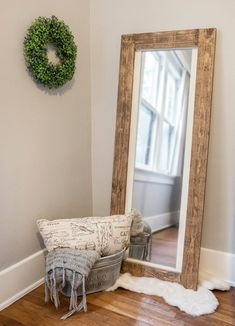 **PLEASE READ BEFORE PURCHASING** Dimensions Mirror surface: approx Total size: Frame ---- Frame ---- *if you would like the mirror without the white interior frame please write no white trim under notes* *This is a floor mirror, hanging hardware not Rustic Floor Mirrors, Wooden Frame Mirror, Mirror Floor, Mirror House, Bedroom Wood Floor, Bedroom Flooring, Living Room Mirrors, Mirror Bedroom, Full Length Mirror Living Room
