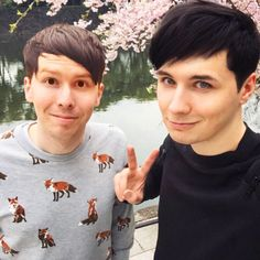 dan and phil w their hair and eyes switched. tbh phil looks hella creepy but dan is still hella on fire