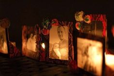 How to Make Velum Photo Candle Holders. Made for a Day of the Dead party, but could be used in a gorgeous Christmas mantle display. Day Of The Dead Party, Day Of The Dead Skull, Saints Days, Photo Candles, Tissue Paper Flowers, Paper Frames, Votive Candles, Looks Cool, Candle Making