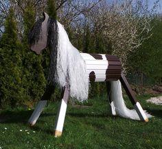 Holzspielzeug - Holzpferd Paint Horse Voltigierpferd 80 cm Pferd - ein Designerstück von designwerkstatt-kirk bei DaWanda