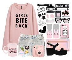 """""""Bite Back"""" by atarituesday ❤ liked on Polyvore featuring Hollister Co., ban.do, Kate Spade, Marc Jacobs, Forever 21, Balmain, Suzywan DELUXE, BaubleBar, NARS Cosmetics and By Terry"""