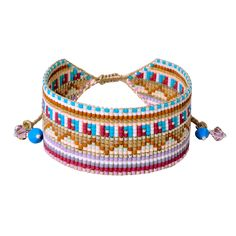 Thrill to the style-hunt in this audacious bracelet boasting a killer look that's drop-dead glamourous. Loom Bracelet Patterns, Bead Loom Bracelets, Dainty Bracelets, Gemstone Bracelets, Cuff Bracelets, Beach Jewelry, Loom Beading, Bead Art, Bead Weaving