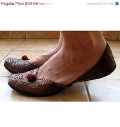 VALENTINE SALE Copper Ballet Flats /Handmade Indian Designer Women Shoes or Slippers/Sequins Shoes/Maharaja Style Women Jooties