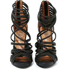 Jeffrey Campbell Mengers Heel ($168) ❤ liked on Polyvore featuring shoes, sandals, heels, black strap sandals, strappy sandals, leather strap sandals, strap sandals and heeled sandals