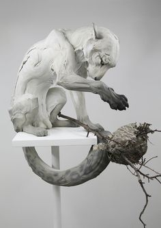 """Forgiveness"", sculpture by Beth Cavener. Animal Sculptures, Lion Sculpture, Art Plastique, Oeuvre D'art, Ceramic Art, Amazing Art, Art Dolls, Sculpting, Fantasy Art"
