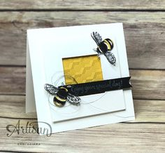 Use the Hexagons Dynamic Textured Embossing Folder to create honeycomb for your bees. -Dani Dziama