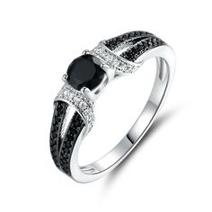 Peermont Jewelry Gold Plated Black Onyx Quartz & Cubic Zirconia Engagement Ring, Women's