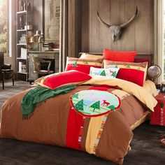 Christmas Theme Bedding Set 100% Cotton Embroidered Bedding 4pcs Quilt Cover Flat Sheet Pillow King Holiday Gift Home Textiles