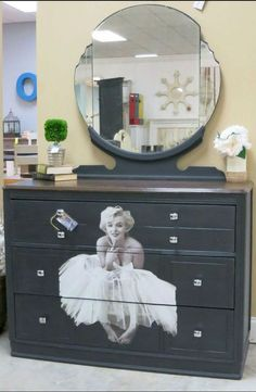 Marilyn Monroe... 3 drawer dresser with mirror decoupaged. Painted in DIY Black Velvet, top stained and poly'd <3